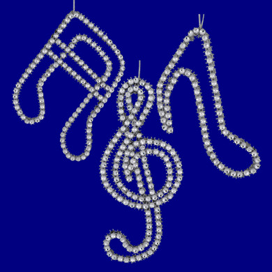 Sparkling Silver Music Note Ornaments