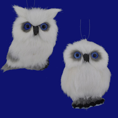 Small Furry Snowy White Owl with Blue Eyes Ornament