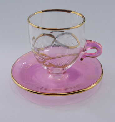 """Teacup and Saucer Mouth-Blown Egyptian Glass Ornament  Pink, 2 5/8 x 3 3/8"""", EM10479"""