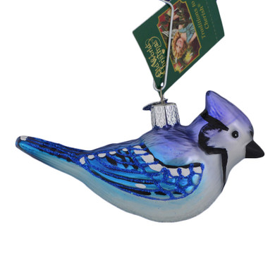 Bright Blue Jay Glass Ornament 16121 Old World Christmas