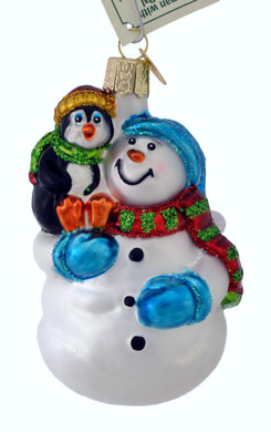 Snowman With Penguin Pal Glass Ornament 24181 Old World Christmas