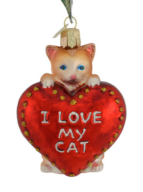 I Love My Cat Glass Ornament 30051 Old World Christmas