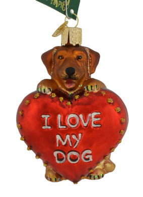 "I Love My Dog Glass Ornament, 3 5/8"", OWC# 30052"