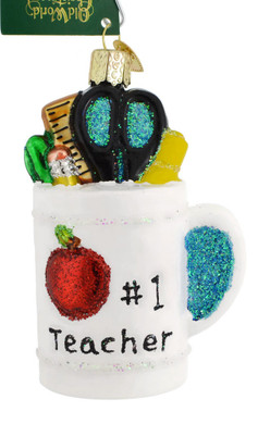 Best Teacher Mug Glass Ornament 32318 Old World Christmas white background