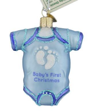 Babys 1st Christmas Blue Onesie Glass Ornament Old World Christmas 32339