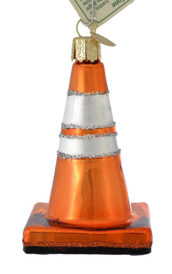 Traffic Cone Glass Ornament 36237 Old World Christmas