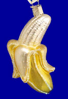 Peeled Banana Fruit Old World Christmas Glass Ornament 28066