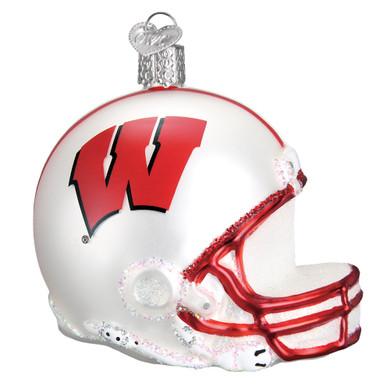 NCAA Wisconsin Football Helmet Glass Ornament 60817 Old World Christmas
