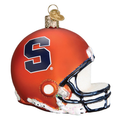 NCAA Syracuse Football Helmet Glass Ornament 65317 Old World Christmas