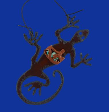 Rustic Cut Steel Lizard Ornament made in USA