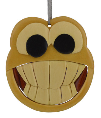 Smiley Face Intarsia Wood Ornament