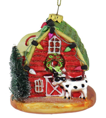 Sparkly Red Barn with Silo Glass Ornament