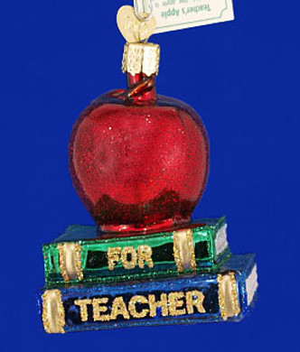 Teachers Apple Old World Christmas Glass Ornament 36128
