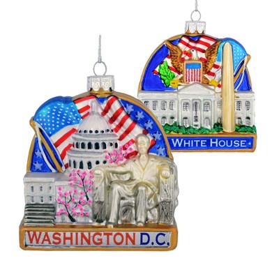 Washington DC White House Glass Ornament C7582