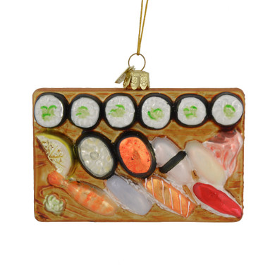 "Sushi Platter Glass Ornament, 3 x 4"", KANB1272"