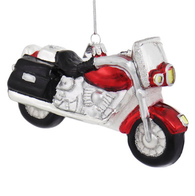 Ready to Ride Motorcycle Glass Ornament
