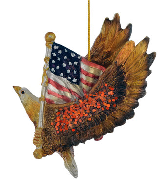 Flying Eagle with American Flag Ornament