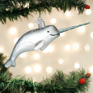"Narwhal Whale Glass Ornament, 6 1/4"", OWC# 12538"