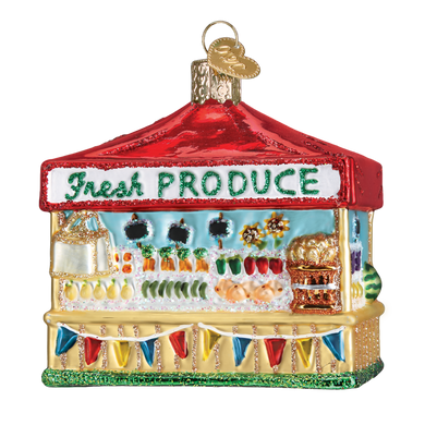 Farmers Market Stand Glass Ornament