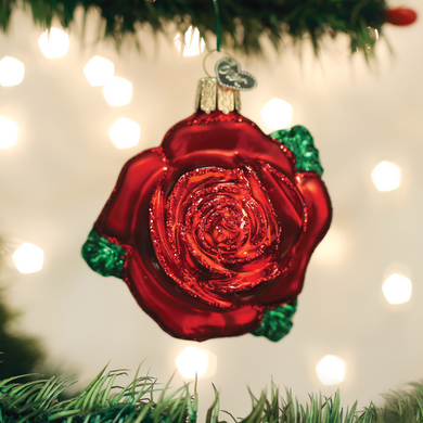 "Red Rose Glass Ornament, 3"", OWC# 36251"