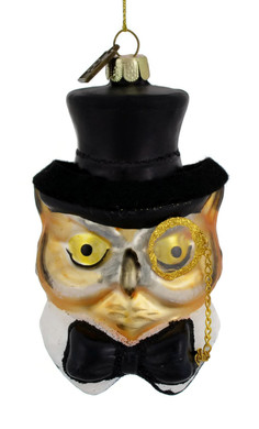 Mr Wise Owl Glass Ornament