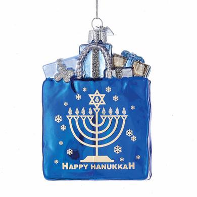 Happy Hanukkah Shopping Bag Glass Ornament