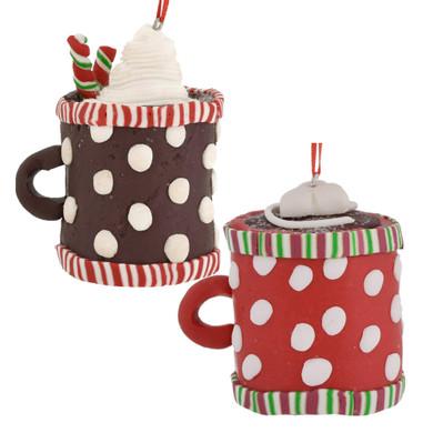 Clay dough Hot Cocoa Cup Ornaments