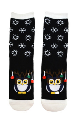 Ladies Thick Non-Slip Christmas Slipper Socks - Reindeer Owl White Top, Size 9-11, mas116