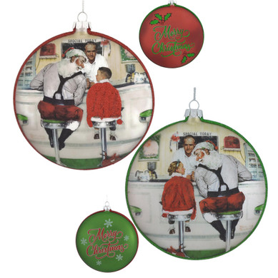 50s Diner Disc Glass Ornament