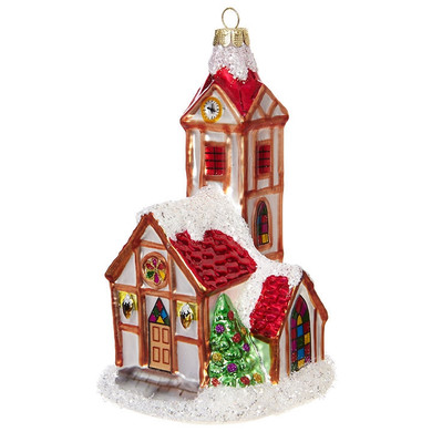 "Alpine Church Glass Ornament, 6"", RA3852947"