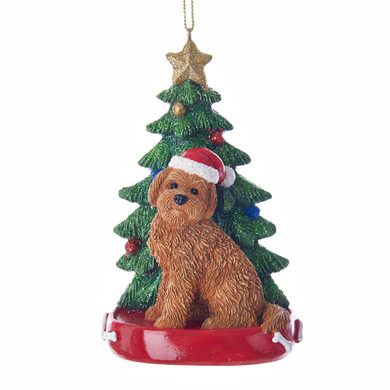 "Red Goldendoodle with Christmas Tree Ornament, 4"", KAC7615GD-red"