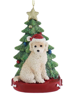 Cream Labradoodle with Christmas Tree Ornament