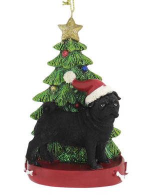 Black Pug with Christmas Tree Ornament