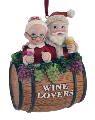 Wine Lovers Wine Barrel Ornament