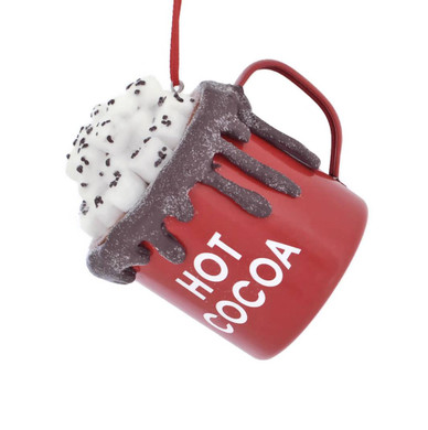 Metal Hot Cocoa Cup with Marshmallows Ornament