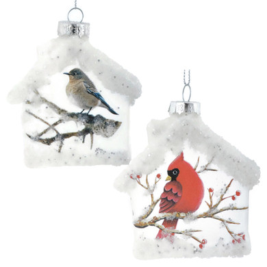 Frosted Clear Glass Birdhouse Ornaments