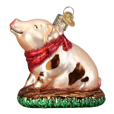 """Piggy In The Puddle Glass Ornament, 3 1/8"""", OWC# 12535"""