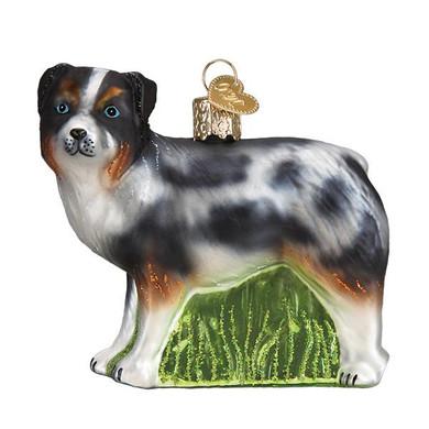 "Australian Shepherd Glass Ornament, 3 1/4"", OWC# 12550"