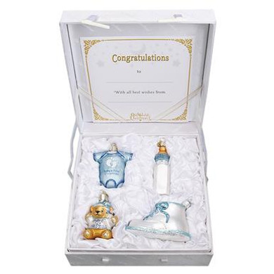 Baby Boy Babies 1st Christmas Glass Ornaments 4 pc Set plus Premium Gift box, , OWC# 14028