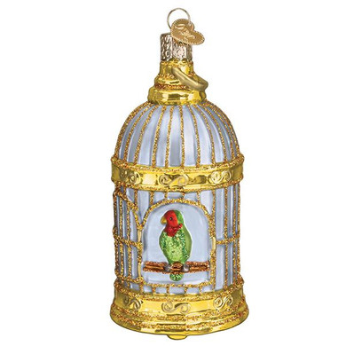 "Vintage Bird Cage Glass Ornament, 4 1/4"", OWC# 16127"