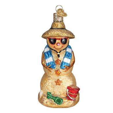 "Sand Snowman Glass Ornament, 4 1/2"", OWC# 24188"