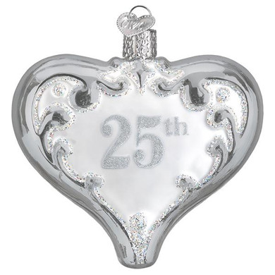 "25th Anniversary Heart Glass Ornament, 3 1/2"", OWC# 30055"