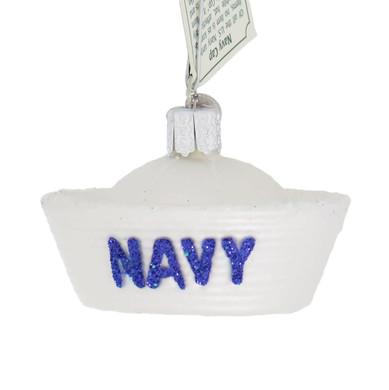 Navy Cap Glass Ornament