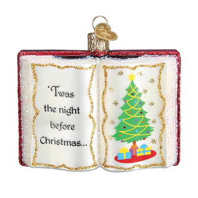 """Night Before Christmas Book Glass Ornament, 3 3/4"""", OWC# 32381"""