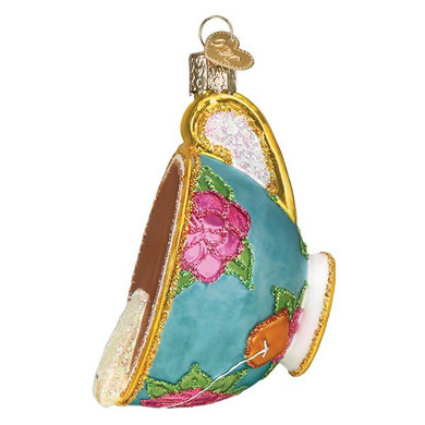 """Cup Of Tea Glass Ornament, 3 3/4"""", OWC# 32393"""