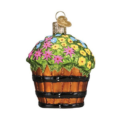 "Barrel of Garden Flowers Glass Ornament, 3"", OWC# 36263"