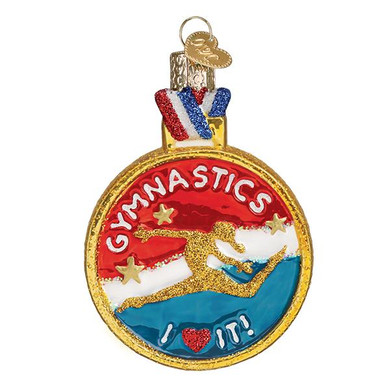 "Gymnastics Glass Ornament, 3 1/2"", OWC# 44145"