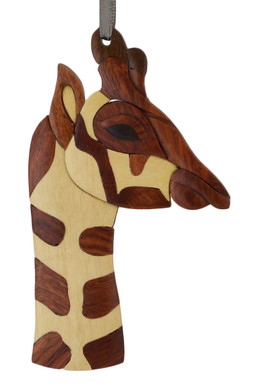 Giraffe Intarsia Wood Ornament