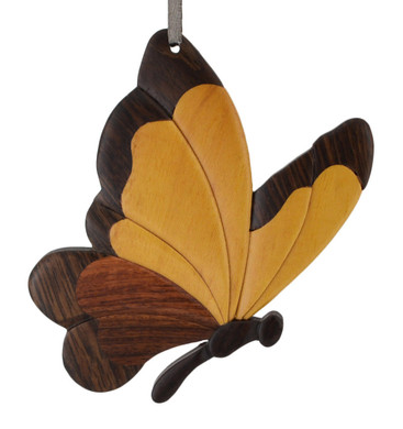 Butterfly Side view Intarsia Wood Ornament