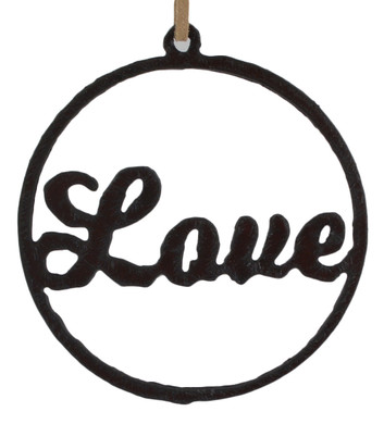 Rustic Cut Steel Circle with Love Ornament
